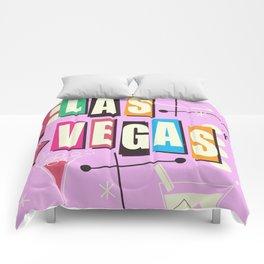 Vintage Las Vegas Vacation print pink version Comforters