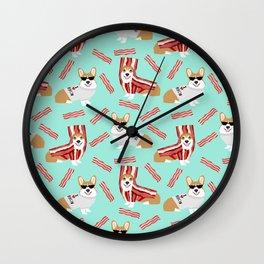 Corgi Bacon art print cute corgis dog bacon food corgis pillow funny bacon design Wall Clock