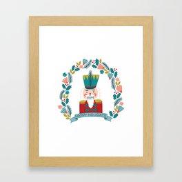 Nutcracker Christmas Floral Framed Art Print