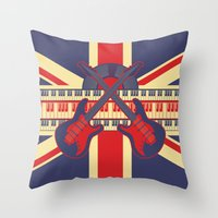 british Throw Pillows featuring British Rock by Ornaart