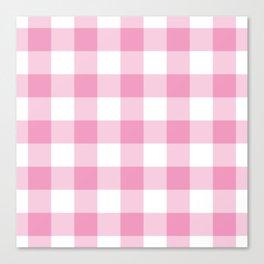 Light Pink Gingham Pattern Canvas Print