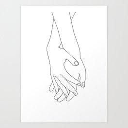 Holding hands illustration - Elana White Art Print