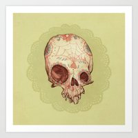 sugar skull Art Prints featuring Sugar Skull by Audrey Benjaminsen