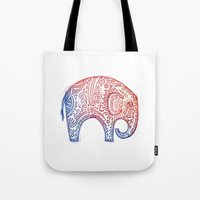 elephants Tote Bags featuring Elephants by Alibabaform