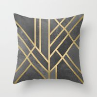 deco Throw Pillows featuring Art Deco Geometry 1 by Elisabeth Fredriksson