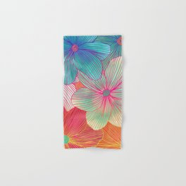 Between the Lines - tropical flowers in pink, orange, blue & mint Hand & Bath Towel