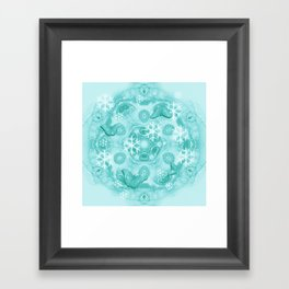 Butterflies and snow in blue Framed Art Print
