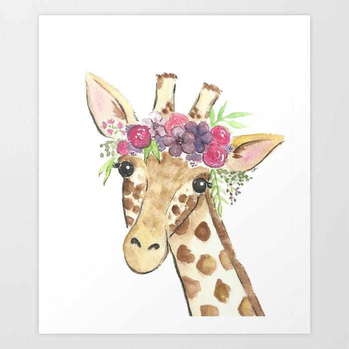 Flower Crown Giraffe Watercolor Kunstdrucke