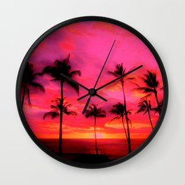 tropical pink, palm trees at sunset sundown,,,house of harlequin Wall Clock