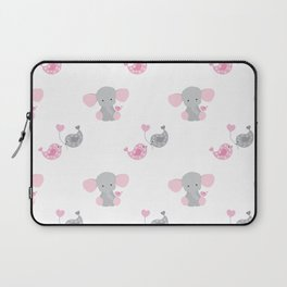 Pink Elephant Chickadee Bird Heart Laptop Sleeve