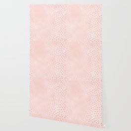 Rose Gold Pastel Pink Foil Paint Line Dots XXIII Wallpaper