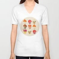 cupcakes V-neck T-shirts featuring Cupcakes by Cat Coquillette