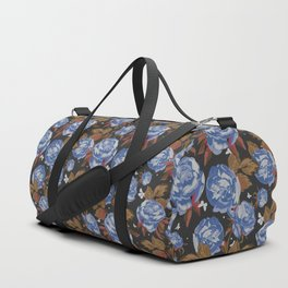 Vintage mauve blue white brown bohemian floral Duffle Bag