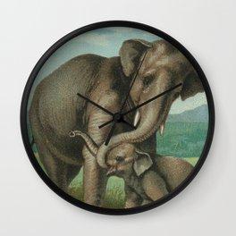 Good luck elephants vintage book plate antique elephant illustration art print Wall Clock
