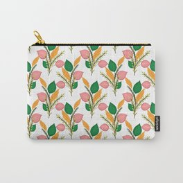 Cute Hand Paint Green Foliage Pink Design Carry-All Pouch