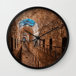Prison Corridor - Sepia Blues Wall Clock