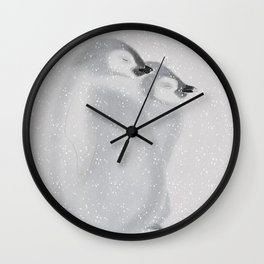 Penguins in snowstorm Wall Clock