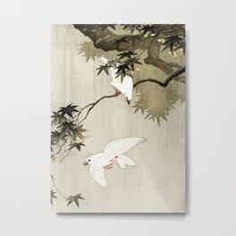 Birds in the rain - Japanese vintage woodblock print Metal Print