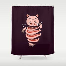 Gluttonous Cannibal Pig Shower Curtain