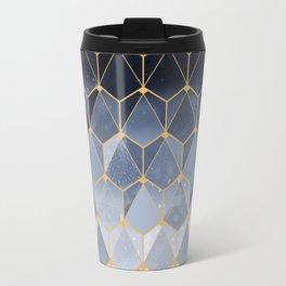 Blue gold hexagonal pattern Travel Mug