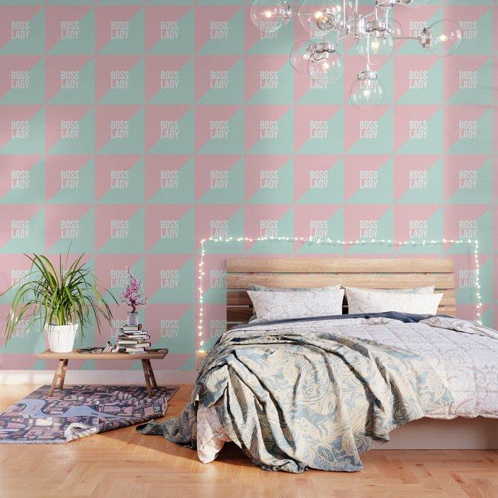 Boss Lady - Pastel Pink and Aqua #bosslady #society6 #typography Wallpaper