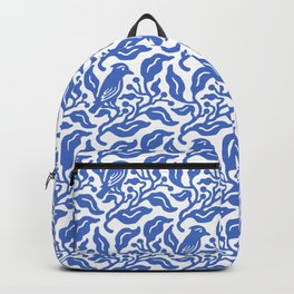 Bird and Berries Pattern Blue Backpack