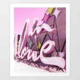 "Pink ""In Love"" Sign at the Neon Museum in Las Vegas, Nevada Art Print"