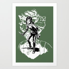 Ellie Last Of Us black&white Art Print