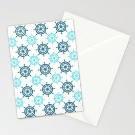 Nautical Seafarer Wheel Retro Seamless Pattern Stationery Cards