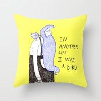 birdman Throw Pillows featuring Birdman by Irene LoaL
