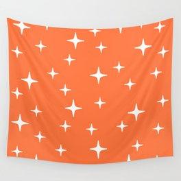 Mid Century Modern Star Pattern 443 Orange Wall Tapestry
