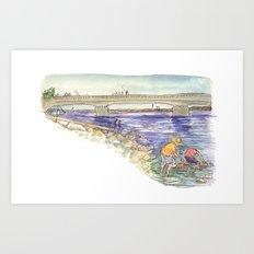 Mussel Hunters Art Print