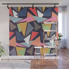 Modern Contemporary Gold Strokes Colorful Triangles Wall Mural