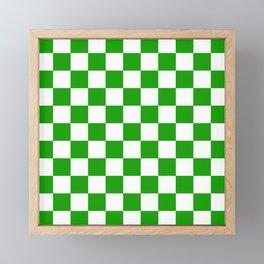Checker Texture (Green & White) Framed Mini Art Print