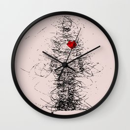 Heart beat in the storm in pink Wall Clock