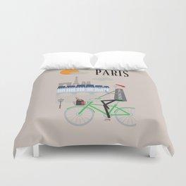 Paris - In the City - Retro Travel Poster Design Duvet Cover