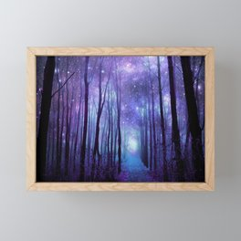 Fantasy Forest Path Icy Violet Blue Framed Mini Art Print