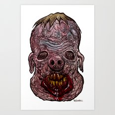 Heads of the Living Dead  Zombies: Swine Fusion Zombie Art Print