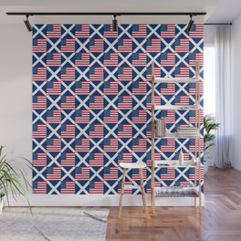 Mix of flag : usa and scotland Wall Mural