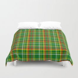 Green Red Yellow and White Plaid Duvet Cover