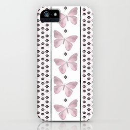 Delicate butterfly on a white background with delicate stripes. iPhone Case