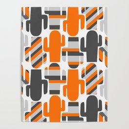 Modern striped cacti Poster
