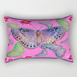 Fuchsia-Purple Dahlias Fluttering Butterfly/Moths Design Rectangular Pillow