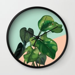 Monstera on mint and pink Wall Clock