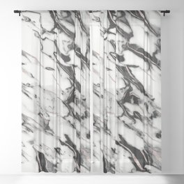 Classic White Marble Rose Gold Foil Glam #1 #marble #decor #art #society6 Sheer Curtain