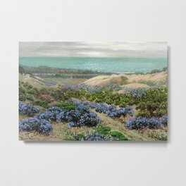 Bluebonnet flowers & San Francisco Sand Dunes nautical seaside landscape painting by Theodore Wores Metal Print