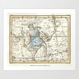 Constellations Ophiuchus and Serpents, Celestial Atlas Plate 9, Alexander Jamieson Art Print
