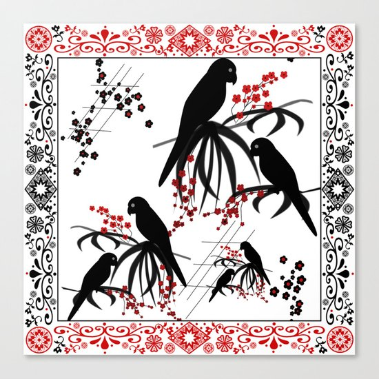 """A series of """" Favorite pillow """"Parrots 1 Canvas Print"""