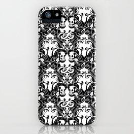 Skull & Tentacle Damask BW iPhone Case