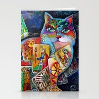 tarot Stationery Cards featuring Tarot cat by oxana zaika